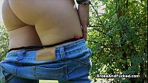 Shy blonde dicked hard in park preview image
