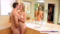 Busty mature teacher watches deepthroat teen