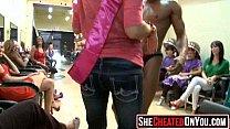 09 Rich milfs blowing strippers at underground cfnm party!48