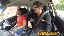 Fake Driving School ebony learner with big tits is worst driver yet صورة