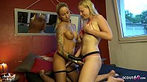 German Lesbian BlondeHexe fuck Skinny Teen with Strap On