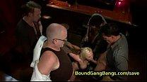 Busty blonde bdsm gangbang fucked in bar Vorschaubild