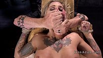 Busty blonde changed several bondages