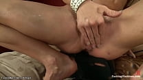Blonde squirter in socks fuck machine