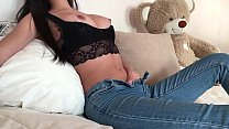 Fit Teen Fingering her Clit in Tight Jeans with...