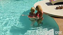 Mermaid Pussy Bang Busty Lesbians' Double Dong Pool Side