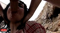 Skinny french babe fucked in ass and pussy at the beach thumbnail