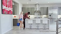 Blonde teen cleaner filled with big black cock