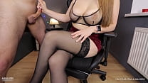 Young Step Sis with Big Tits handjob on her stockings high heels