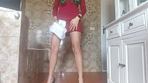 hot sexy diaperde girl PEE into her sexy tight dress and into a baby diaper صورة