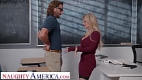 Naughty America - Busty professor, Casca Akashova, helps take care of her student's boner by taking his cock on her desk