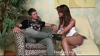 Hot shemale fucking on the couch
