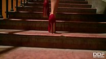 Bella Baby from Czech Republic fucked doggy style wearing red high heels