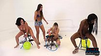 Amateur chicks ride a dildo balloon pump for money