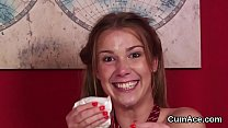 Horny bombshell gets jizz shot on her face swallowing all the love juice