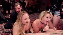 Blondes lick and fuck in bdsm party