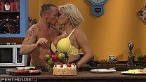 Busty Blonde Sex addict Bridgette B gets her Shaved Pussy Porked in the Kitchen