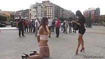 Brunette hottie licking mistress in public