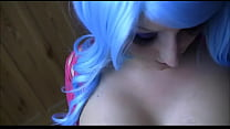 Blue-haired girl makes a gorgeous blowjob. Blowjob by BBW teen