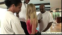Blonde slutwife cheats with 3 black men