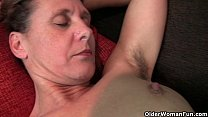 Granny Inge gets fingered up her full bushed pussy video