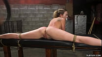 Bound and spreaded blonde whipped