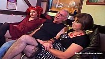 Pale redhead y. crossdresser sucking old mans cock