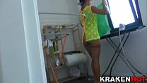 Voyeur, look at this wife's pussy cleaning in a Xvideo