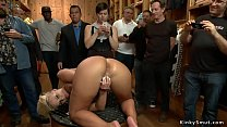 Busty slave anal fucked in public store