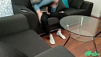 teen with big ass in ripped jeans make a footjob and fucked صورة