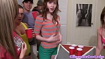 Crazy college babes drilled at dorm party