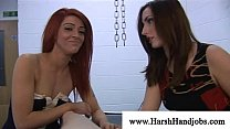 Sadistic girls disciplining cock