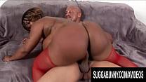 Curvy Ebony Brownie Deluxxx Has Her Huge Ass Sprayed
