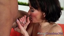 Old cougar sucks cock