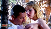 Perfect babe fucked by body builder with large cock in the woods