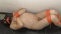 BDSM Pissing desperate bondage man on cold shower floor. Kinky Male peeing. Wet and Pissy from Holland urine.