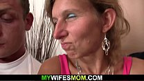 He screws her old hairy pussy mother from behind