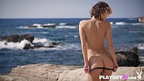 Petite blonde MILF striptease and solo dancing outdoor