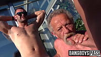 Threesome with gay horny grandpa and two y. studs
