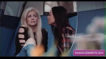 Amazing teen lesbian babes Aiden Ashley, Abigail Mac make out in a tent in the woods