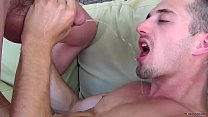 Cocksucker Bryce Corbin blindfolded and pissed on orgy