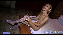 Petite ladyboy babe ass fucked bareback in a hotel room