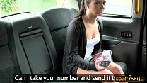 Brunette babe gets lured to have sex by the taxi driver