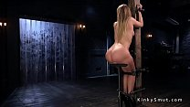Hot blonde in bondage gets ass whipped