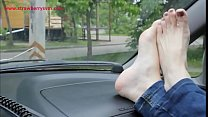 Pretty Bare Feet on Car Dashboard Part 1- www.prettyfeetvideo.com