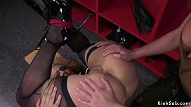 Blonde wrestler anal toyed in lezdom