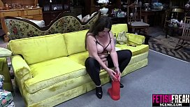 FetishFreakScene Pussy gapping with huge red dildo