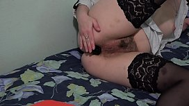 Brunette trying on her juicy ass different sex toys, anal orgasm doggystyle.