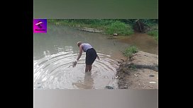 A village girl strolled and masturbated her pussy in a village River. Ruzzyde