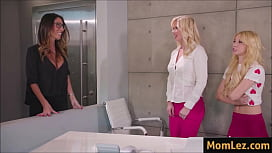 Mom and daughter fuck at work